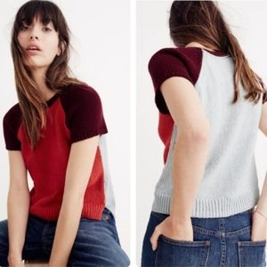 Madewell colorblock knit short sleeve sweater